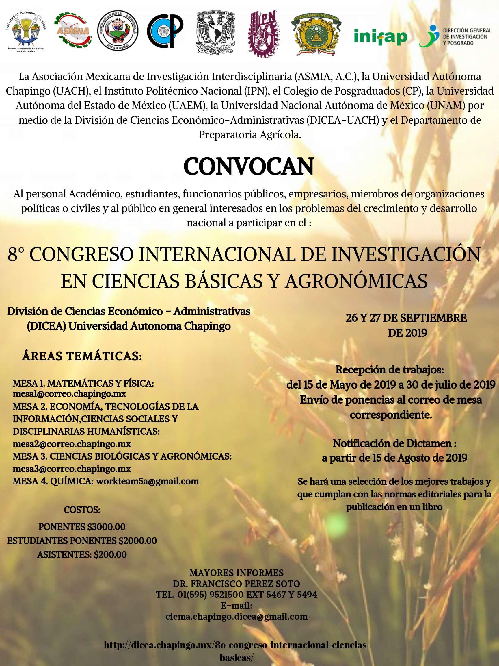 8° Congreso Internacional de Investigación en Ciencias Básicas y Agronómicas