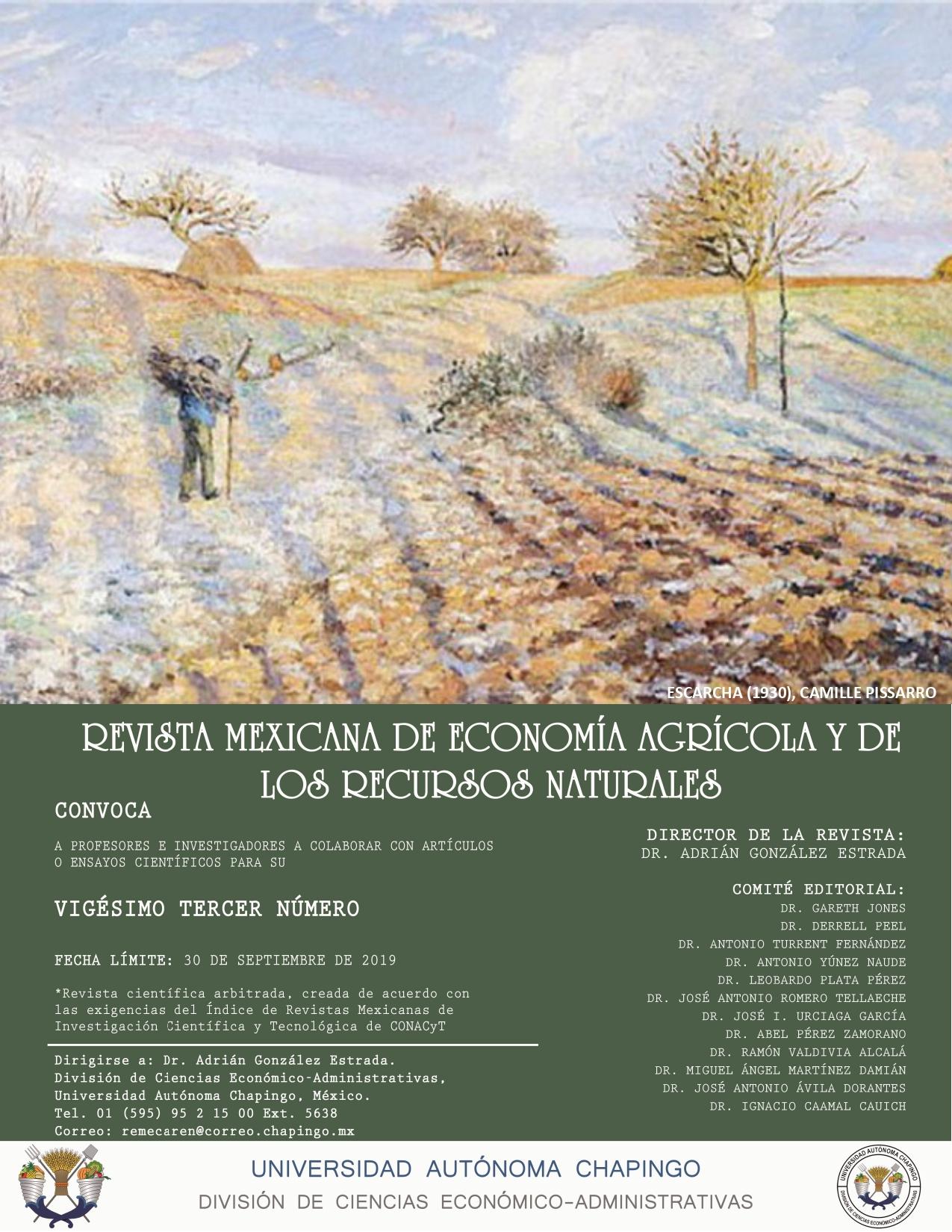 Convocatoria Revista Mexicana de Economía Agrícola y de los Recursos Naturales