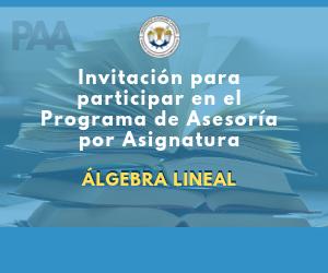 Invitación programa de asesorías por asignatura (Álgebra lineal)