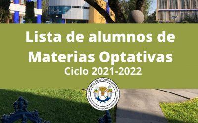 Lista de Alumnos de Optativas del 1er. 2021-2022